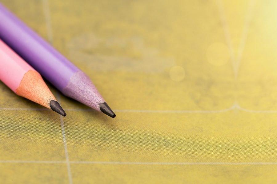 Pink, purple color pencils banner